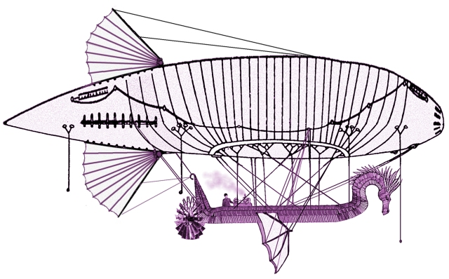 Dragon Scale Shape Airship With Dragon-shaped