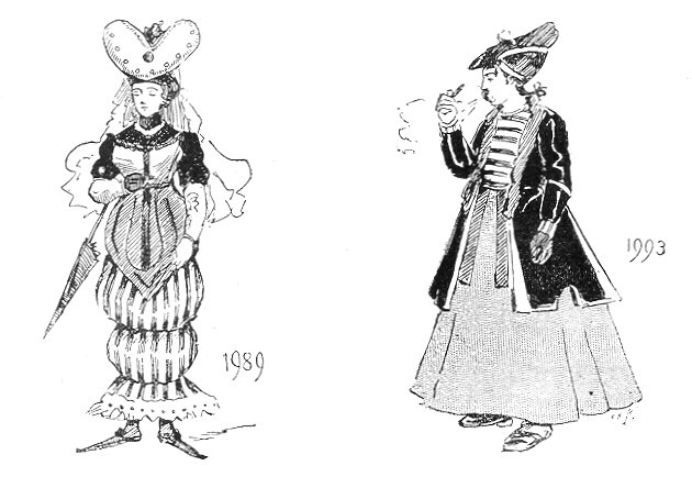 Drawing of two women in long dresses and wild hats.